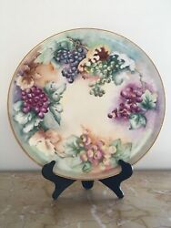 Massive 18 Antique Limoges Tandv Grapes And Leaves Charger Tray Platter C.1892-1907