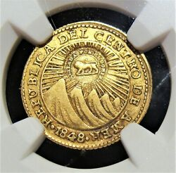 Costa Rica Republic Gold Counterstamped Escudo Nd 1849-1857 Xf40 Ngc.