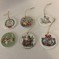 Grolier Collectibles Six Round Collectible Disney Orn. - Snow White/donald Duck+