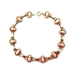Gold Bracelet And 12 Cameos - 8.06 Gr 7 1/2in X 0 3/8in