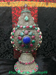 Old Tibet Tibetan Silver Inlay Red Coral Vignette Pattern Flowers Snuff Bottle