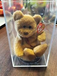 Rare Retired Ty Beanie Baby With Tag Errors And039curlyand039 Bear - Mint Condition