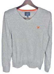 American Eagle Outfitters Aeo Men's M Gray Orange V-neck Sweater Classic Fit
