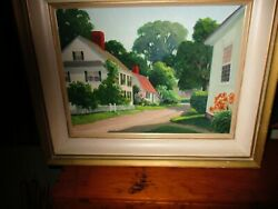 Antique Oil Painting Gladys C. Best Rockport Gloucester Ma Architecture Aafa