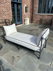 Pavilion Merrick Style Powder Coated Aluminum Outdoor Patio Or Pool Lounge Bench