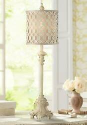 French Country Candlestick Buffet Table Lamp Vintage Ivory Lattice Dining Room