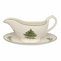 Spode Christmas Tree 9 Ounces Stoneware Gravy Boat And Stand