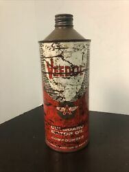 Vtg Veedol Outboard Motor Oil 1 Quart Oil Can Tin Cone Top Tidewater Oil Co