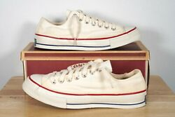 Vintage 60and039s Deadstock Converse All Star Blue Label White Oxford Sz 10 Usa