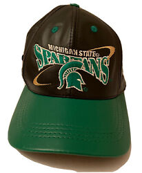 Vintage Michigan State Spartans Leather Embroidered Black Green Hat Ncaa Usa