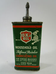Vintage O.k.and039s Household Lubricating Oil Can Lead Spout Lid Oiler Knight Graphic