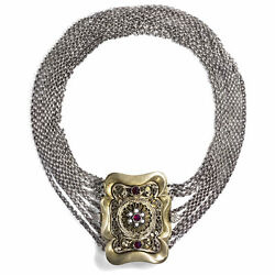 8 Rows Antique Choker From Austria, Silver Costume Chain, Costume Jewelry