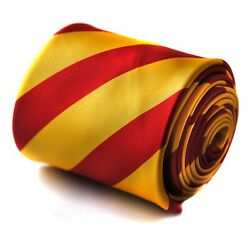 Frederick Thomas Plain Red And Yellow Barber Stripe Mens Tie Lords Cricket Mcc