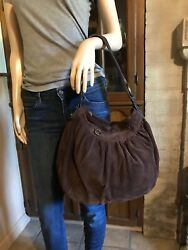 LUCKY BRAND Women#x27;s Large Brown Suede Leather HOBO TOTE SHOULDER Bag Purse $36.50
