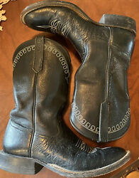 Rios Of Mercedes Womens Cowgirl Cowboy Black Ostrich Leather Boots Size 8 D 8d