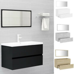 Wall Mounted Sink Cabinet With Mirror Chipboard Vanity Bathroom Furniture Set