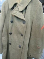 Ww1 Us Army Military Wool Overcoat - Buttons And Insignia