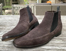 Prada Men's Dark Brown Spotted Suede Pointed Slip On Ankle Boots Size 11 US 12 $150.00