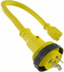 Conntek Marine Shore Pigtail Adapter Cord 30 Amp Shore Male Plug To 15 Amp Con