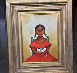 """Vintage Signed Xavier Cugat Oil Painting On Canvas Indita Mexicana"""""""