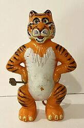 Vintage 1965 Marx Toys Wind-up Spinning Tail Tiger Plastic Toy 7-1/4andrdquotall Works