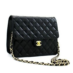 C19 Authentic Small Chain Shoulder Bag Clutch Black Quilted Flap Lambskin