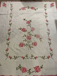 Vintage Pink And Green Feedsack Quilt 73x87andrdquo Signed Roses