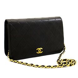 A45 Authentic Full Flap Chain Shoulder Bag Clutch Black Quilted Lambskin
