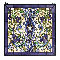 22w X 22h Floral Fantasy Stained Glass Window