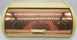 Vintage Lincoln Beautyware Yellow And Copper Breadbox - Free Shipping