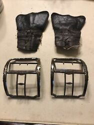 18th Century Revolutionary War Silver Officers Shoe Buckles With Leather Covers