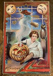 Unusual Antique Halloween Postcard - A Genie Like Witch Appears From Lit Jol