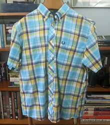 Men#x27;s FRED PERRY Button Down Short Sleeve Plaid Shirt LARGE $28.00
