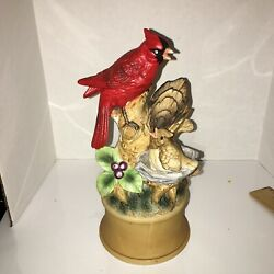Vintage Shefford Music Box Red Cardinal And Baby Porcelain