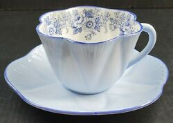 Rare Shelley Pale Blue Roses And Daisies Teacup And Saucer Set Bone China Dainty