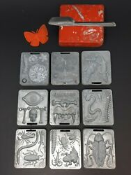 Lot Of 9 Vtg Mattel Thingmaker Creepy Crawlers Molds Insect Bugs + Knife And Tray