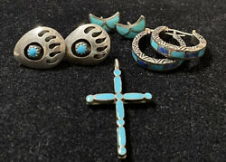 Vintage Sterling Silver Turquoise Stone Lot Of 4 Bear Paw Earrings And Cross