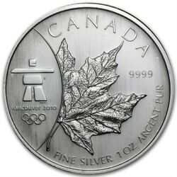 2008 Canadian 5 Maple Leaf Vancouver 2010 Olympics 1 Oz .9999 Silver Coin