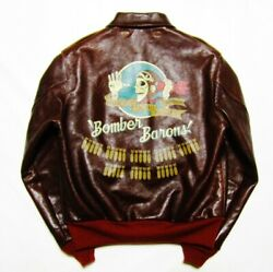 Buzz Rickson Lyxons A-2 Leather Flight Jacket/40/red Ribs/ And039bomber Baronsand039/hand