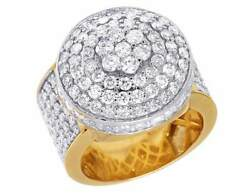Menand039s 10k Yellow Gold Genuine Diamond Round Cluster 3d Fashion Ring 4ct 19mm