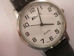 Ravel... Unisex Large Dial Clear White Face Watch...