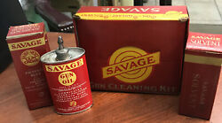 Vintage Savage Gun Oil, Solvent And Grease Boxed Kit Gun Oil Auto Tin Can