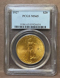 1927 20 Gold St. Gaudens Pcgs Ms65 Great Luster
