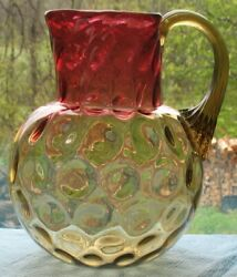 Eapg Amberina Inverted Thumbprint Tri-shape Top Applied Handle Pitcher