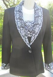 St John Evening Black Evening Jacket, White Embroidery, Seed Beads/crystals. Sz6