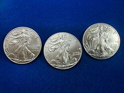 3in Lot-1oz.999 Silver Eagle-2021-type1 Out Of Tube-last Tube Of Type1
