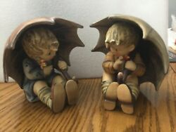 """Goebel Hummel Umbrella Boy And Girl Pair 152/a 152/b 1957 4and3/4"""" Great Condition."""