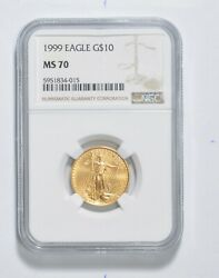 Ms70 1999 10 American Gold Eagle - 1/4 Oz. .999 Fine Gold - Graded Ngc 3322