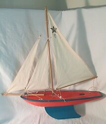 Old Star Yacht Birkenhead Sailboat Wood Pond Toy Boat Original Nice Condition