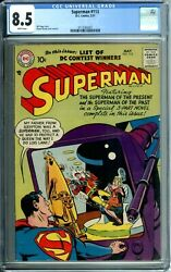 Superman 113 Cgc 8.5 Wp Rare In Hi-grade Only 1 Higher Newcgccase Silver Dc 1957
